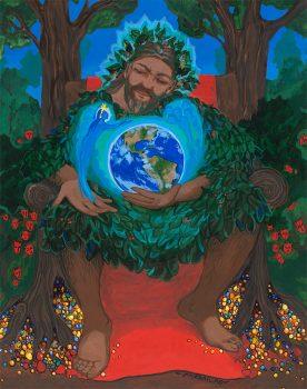 Earth Spirit Calling Upon Green Man